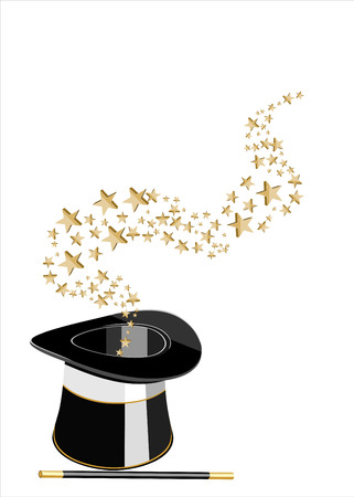 silk hat: Magic hat and wand with stars. Illustration