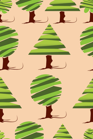 patchwork landscape: silhouettes of trees. seamless pattern. Illustration