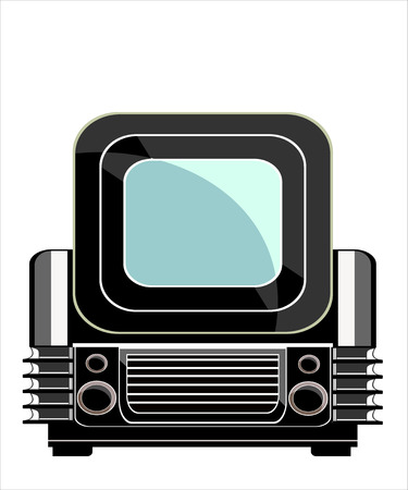 Vintage television over white background Vector