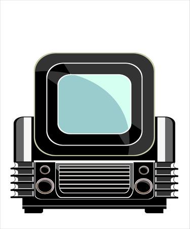 crt: Vintage television over white background