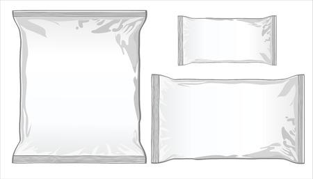 Plastik: Sammlung von verschiedenen Papiert�ten auf wei�em Hintergrund. Illustration