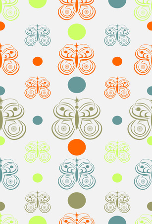 lilas: Seamless spring pattern with abstract butterflies and balls