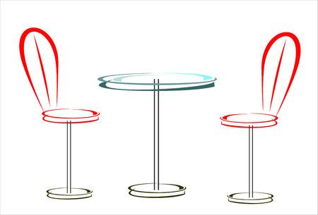 distal: mesa y dos sillas Vectores