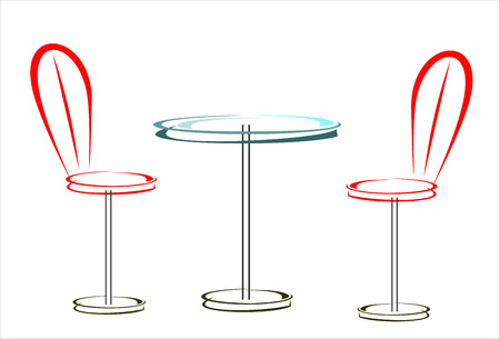 distal: table and two chairs Illustration