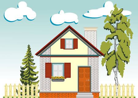 green garden with house and fence - vector illustration Vector