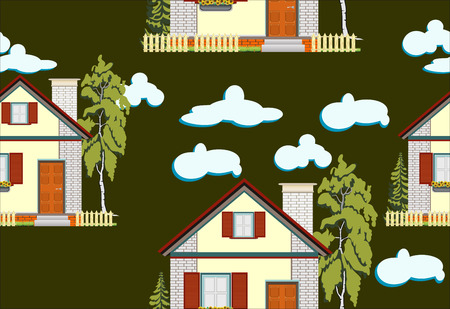 country side: Seamless green garden with house and fence background pattern in vector Illustration