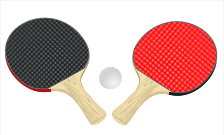 indoor court: Two rackets for playing table tennis. Illustration on white background