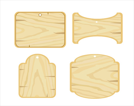 wooden plaque: Set vector Wooden plaque on white background.