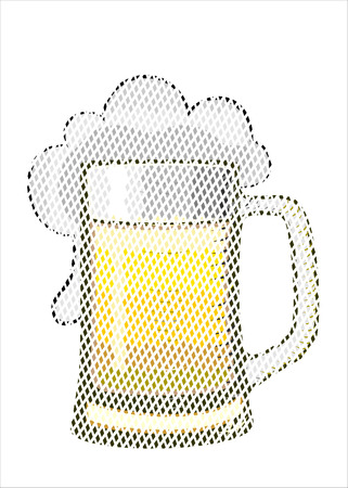 barware: glass of beer, illustration
