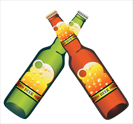 Bottle of Beer with label in two colors Vector