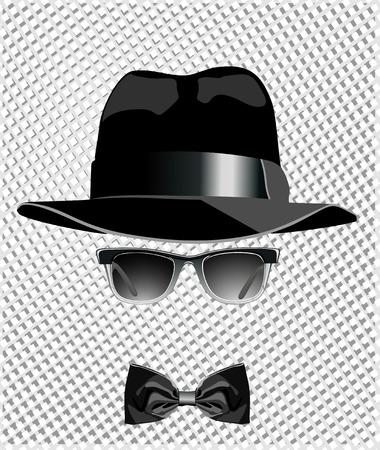 sombrero, gafas de sol y una mariposa