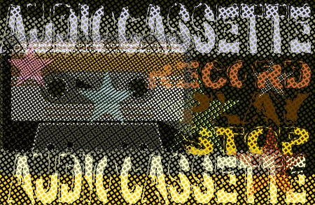 audio cassette: Retro Poster - With Audio Cassette Tape Illustration