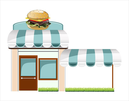 window case: Vector fast food cafe