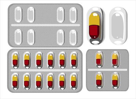 передозировка: Таблетки в блистерной упаковке. Векторная иллюстрация