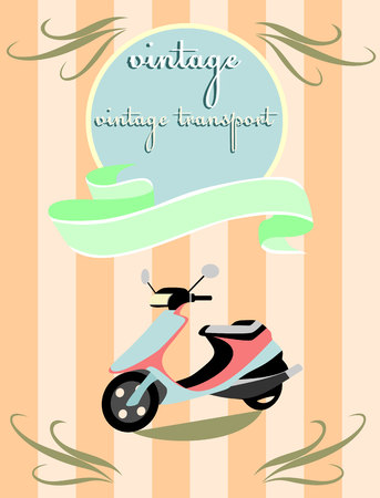 wheal: Vector illustration of a stylized vintage motorcycle Illustration