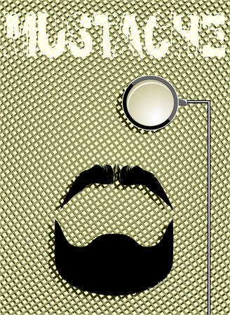 mustaches: style set bowtie, monocle and mustaches. vector Illustration
