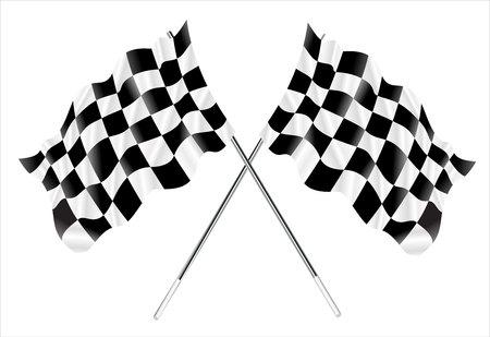 bandera carreras: Vector de dos cruzaron banderas a cuadros.