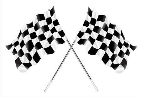 two crossed checkered flags: Vector two crossed checkered flags.