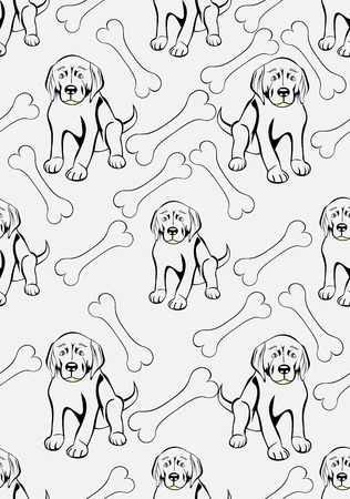 sniff dog: dogs with bones seamless background Illustration