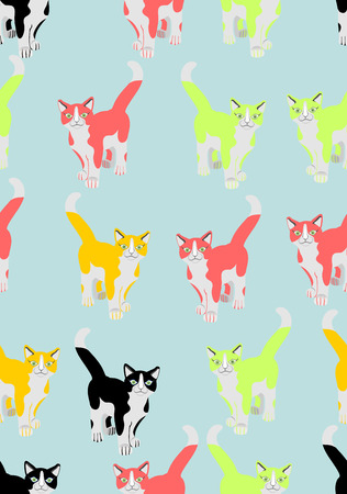 tot: Vector seamless background, coloured cats Illustration