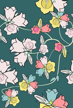 elegância: Teste padr�o abstrato da eleg�ncia sem emenda com fundo floral