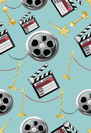 flick: seamless pattern with movie icons