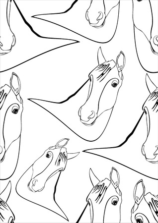 trotting: horses - seamless pattern
