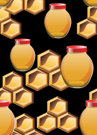 Seamless pattern with honey jar ,bees and honeycomb