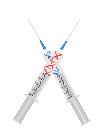 medical background with dna, and syringe