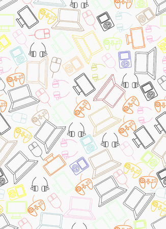 pictogrammes: Electronics gadgets vector seamless pattern. Illustration
