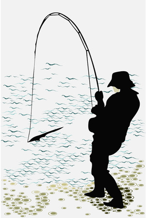 fisherman caught a fish silhouette Иллюстрация