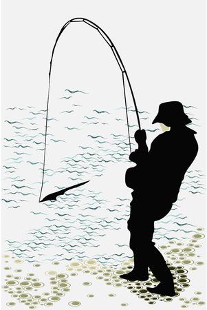 hombre pescando: pescador atrap� un pez silueta