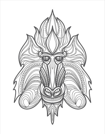 abstract gorilla: Patterned head of the monkey Illustration
