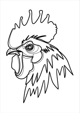 zodiac anger: vector mascot of rooster head