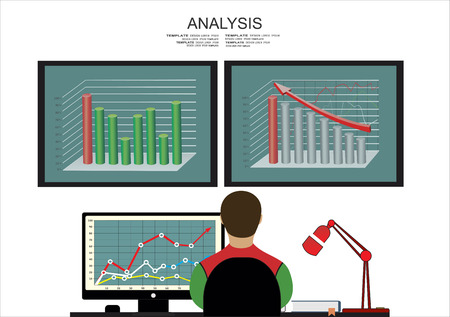 Analysis of information on the dashboard. Monitoring and statistics - vector illustration