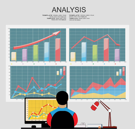 follow the leader: Analysis of information on the dashboard. Monitoring and statistics - vector illustration