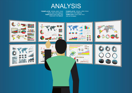 dashboard: Analysis of information on the dashboard. Monitoring and statistics - vector illustration. Virtual screens concept - man watch on screens. Illustration