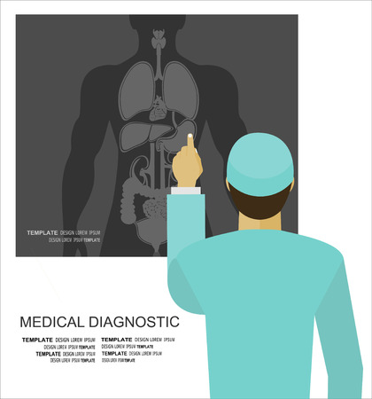 bronchial asthma: Doctor examining a radiography, vector illustration