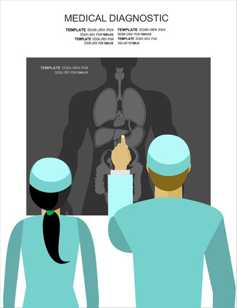 lung transplant: Doctors examining a radiography, vector illustration Illustration