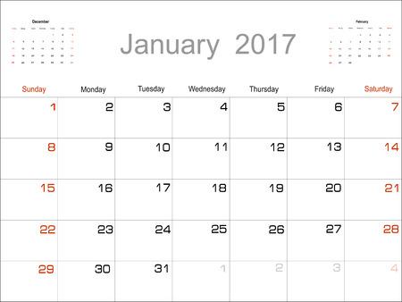 january: Vector planning calendar January 2017 Illustration
