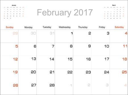 planning calendar: Vector planning calendar February 2017
