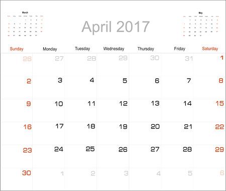 april: Vector planning calendar April 2017