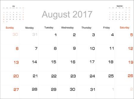 planning calendar: Vector planning calendar August 2017