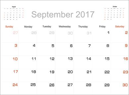 planning calendar: Vector planning calendar September 2017