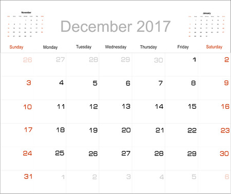schedulers: Vector planning calendar December 2017 Illustration