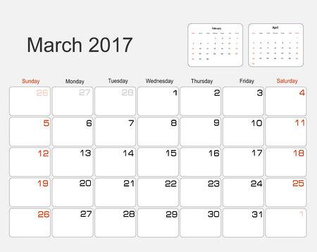 planning calendar: Vector planning calendar March 2017