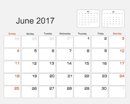 planning calendar: Vector planning calendar June 2017