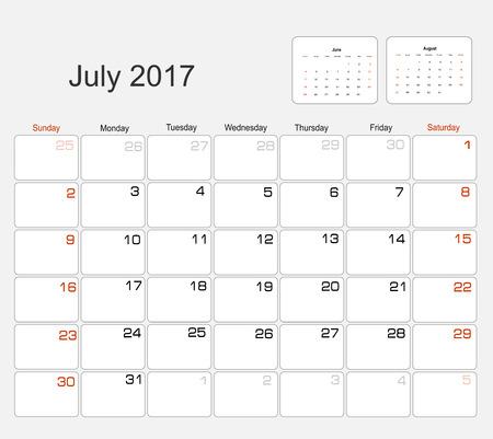 planning calendar: Vector planning calendar July 2017 Illustration