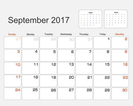 agenda year planner: Vector planning calendar September 2017