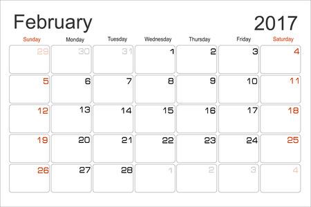 scheduler: Vector planning calendar February 2017 Monthly scheduler. Week starts on Sunday. Illustration